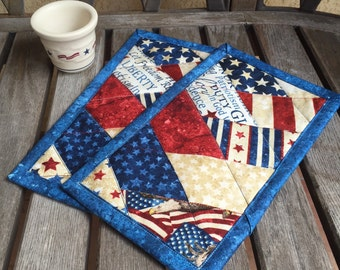 ONE Blue Patriotic Mug Rug in red, white and blue | Patriotic prints candle mat  | Independence Day snack mat | 4th of July mug rug
