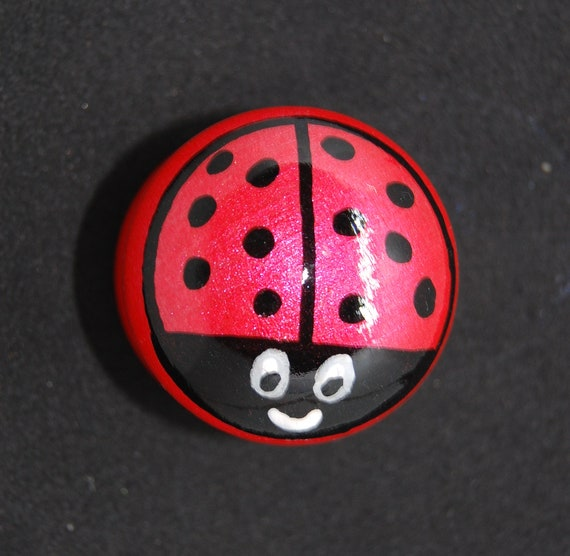 Ladybird Drawer Knob/ Cupboard Handle Hand Painted 3 Sizes Available- 30mm, 40mm, 53mm