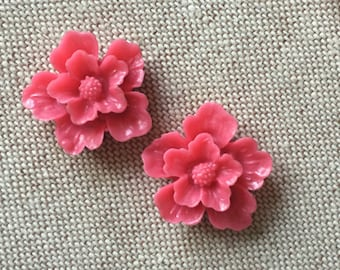 12 pcs of sakura flower cabochon-22mm-rc0166--4-fuchsia