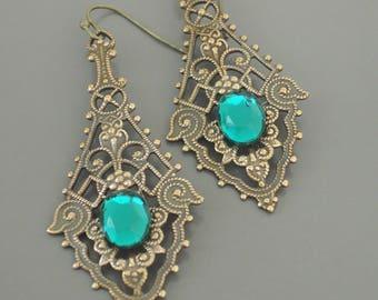 Vintage Earrings - Art Nouveau Earrings - Emerald Earrings - Filigree Earrings - Brass Earrings - Green Earrings - handmade jewelry