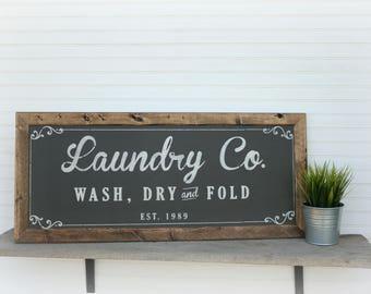 Farmhouse Laundry, Laundry Room Sign, Laundry Room Decor, Laundry Co Sign