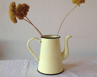Old yellow enameled teapot, Old yellow enameled tea, antique french chic, boho style, Interior deco Bohemian bohemiane.