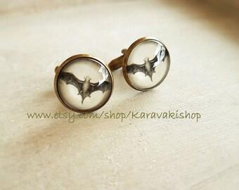 Bats, Bat cufflinks, Flying bat cufflinks, Black Bat Cufflinks,Bat Silhouette Cufflinks,halloween cufflinks