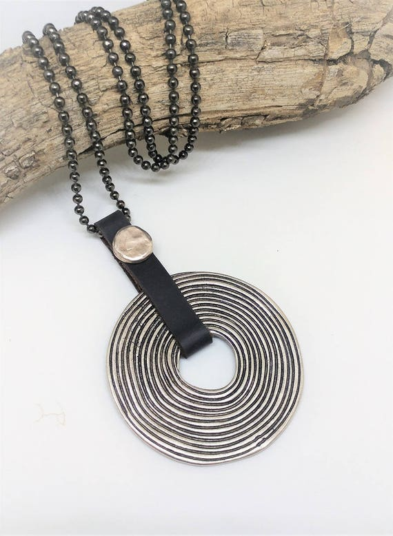 Spiral Necklace, Circle of Life Necklace, Good Luck Pendant, Statement Pendant, Round Tribal Necklace, Large Leather Necklace