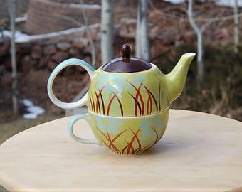 Cha Cult Handpainted Teapot and Mug