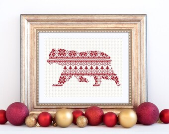 Polar Bear Cross Stitch Pattern Nordic Instant Download PDF Scandinavian Style Christmas Motif Arctic Pattern Holiday Festive Forest Animal