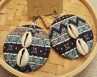 African Centric Fabric large button with cowrie shells  dangling earrings