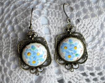 Floral earrings, filigree earrings, Gift for Her wife, Dangle Earrings, Mothers Day earrings, Finift earrings, Shabby chic boho