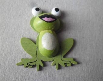 x 5 embellishments frog green wood 38 x 33 mm