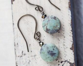 Turquoise Earrings, Natural Stone  Earrings, Green Earrings, Small Earrings, African Turquoise, Beach Boho, Bohemian, Boho, Boho Chic