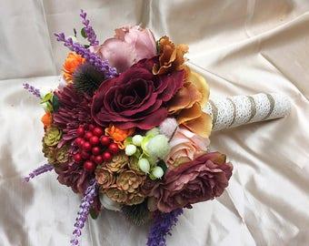 Silk Flower Bridal Bouquet - Keepsake Bouquet - Wedding - Bride and Bridesmaid - Made To Order