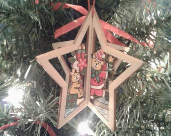 Wood Christmas Ornament 3D Christmas Star Wooden Ornament