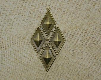 2 pendants bronze metal diamond shaped geometric 83mm