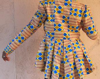 African Print Jacket, Kente Print jacket,African print blazer, peplum blazer, African print hi-lo jacket, African print blazer, kente jacket