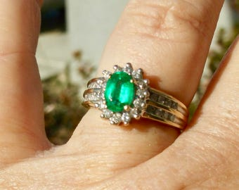 Columbian Emerald Ring | Diamond Ring | Emerald & Diamond Ring Statement Ring | Mothers Day Gift