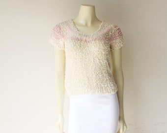 Gorgeous 80s Vintage Ivory Boucle Knit Pastel Mohair Short Sleeve Top