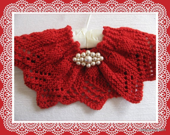 Lace Collar Or Scarf Knitting Pattern Candy Apple Red Design
