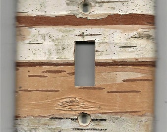 single toggle hole. Real birch bark covered light switch plate - nature