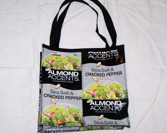 One of a kind Purse or Lunch Bag Sewn with Recycled Almond Accents bags upcycled repurprosed
