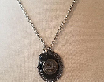 Recycled Vintage Military Button Necklace in Silver Setting