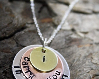 Tri Color Three Disk Layered Necklace