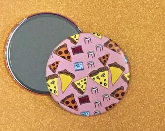 3.5 Inch Hand Mirror, Pizza Party Mirror, Purse Mirror, Pocket Mirror, Compact Mirror, Pizza Mirror, Hand Mirror, Round Mirror