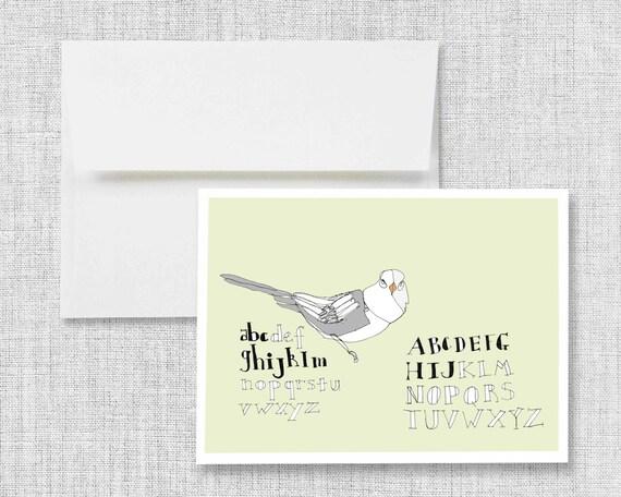 "greeting card, blank greeting card, greeting card set, greeting cards handmade, drawing, bird, lettering, alphabet - ""Sketchbook Birdie"""