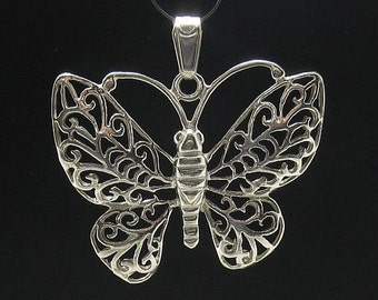 PE000611  Sterling silver pendant  solid 925 Filigree Butterfly Charm