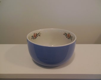 Halls Rose Parade Small Mixing Bowl Made in USA Blue and White with Pink Flowers