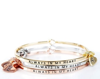 Always In My Heart Bangle with Personalized Initial Charms | Dainty Bangle | In Memory Of | Gift for Her | Gift Under 15 | Family