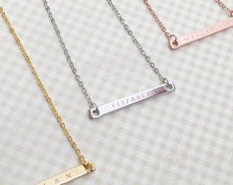 Engraved Necklaces- Monogram Necklace, Personalized Engraved Necklace, Letter Necklace, Bridesmaid Gift Ideas, Custom Bar Necklace