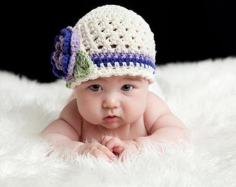 Crochet Baby Hat, Baby Girl Hat, Infant Winter Hat, Crochet Hat, Girls Crochet Beanie Hat, Cream, Lavender, Purple, custom MADE TO ORDER