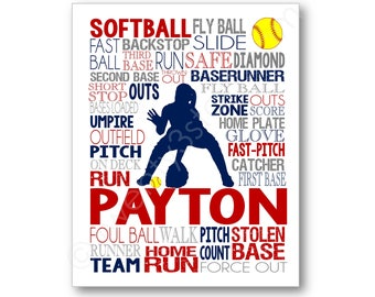 Softball Infielder Typography Poster, Gift for Softball Player, Softball Team Coach Gift, Softball Poster, Softball Infielder Canvas Art