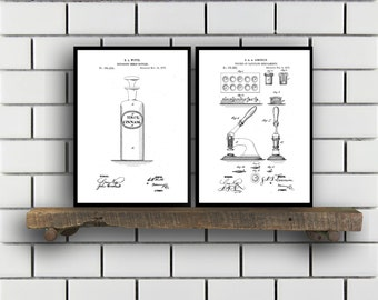 Drugstore Patent Prints Set of TWO, Drugstore Invention Patents, Drugstore Poster, Drugstore Inventions, Pharmacist Decor, Pharmacy,