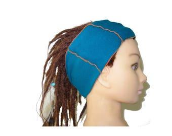 Teal orange patchwork adult headband bohemian.