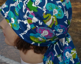 SUGAR SKELETONS BLUE Cotton Mens or Womens Dorag Terry Sweatband Doorag