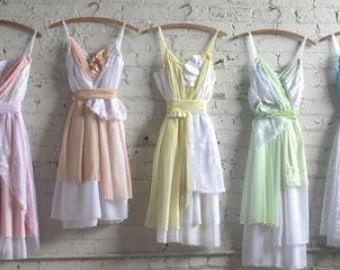 Custom Pastel Rainbow Palette Boho Bridesmaids Dresses -- made to order