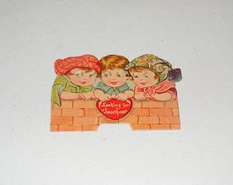 Vintage German Valentine Card Mechanical Pull Tab Children with Big Googly Eyes Germany