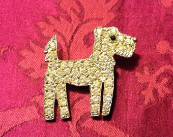 1960s Vintage Rhinestone Art Deco Terrier Pin