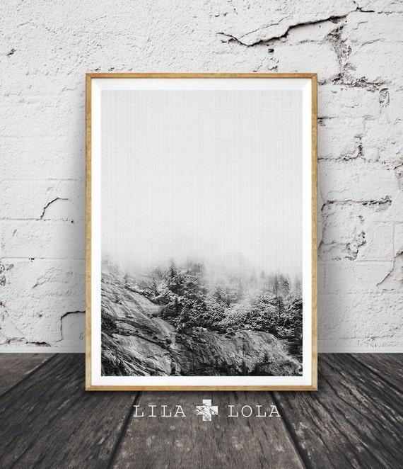 Snow Tree Mountain Print, Black and White Photography, Modern Minimalist Scandinavian, Nordic Decor, Large Poster Art, Printable Download