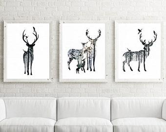 Deer, nursery art, nursery decor, Stag art, woodland animals, printable nursery, kids wall art, nursery print, baby animal print