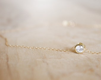 Round CZ Charm Necklace - 14k Gold Filled Necklace - Valentine Day Gift For Her - Tiny Necklace - Gold Charm - Bridal Necklace - Simple Thin