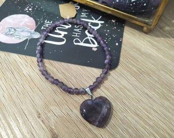 Amethyst Heart Bracelet #002