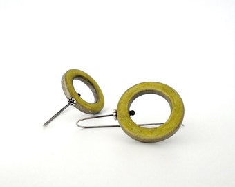 Geometrical yellow green  and grey  modern hoop clay earrings sterling silver, air dry clay jewelry, chartreuse, circle, organic shabby chic