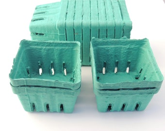 12 Aqua Green Pint Baskets, Pulp Berry Baskets, Recyclable Party Favor Boxes Wedding Gift Baskets Cookies Treats Baked Goods Party Favors,