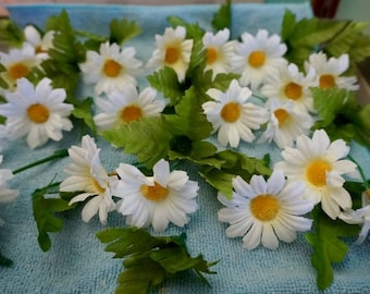 Mini Daisies; Set of 20; Approx. 2 in.; Green Leaves Inc.; No Stems; Country Decor !!!