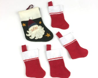 Lot of 4 Small Red White Christmas Stocking 1 Green Santa Stocking Holiday Gift