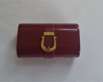 lipstick holder, plastic lipstick case and mirror, burgundy lipstick compact, made in Hong Kong