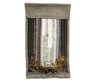 Abstract forest textile wall art in black, grey and gold