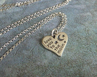 "Heart ""Love You To The Moon"" Necklace ~ Sterling Silver"